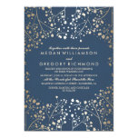Gold Foil Effect Navy Baby's Breath Wedding 13 Cm X 18 Cm Invitation Card
