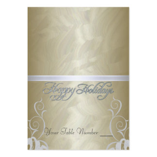 Gold Foil Silver Ribbon Holiday Table Placecard Pack Of Chubby Business Cards