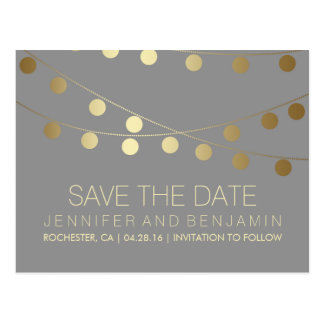 Gold Foil String of Lights Save the Date Postcard