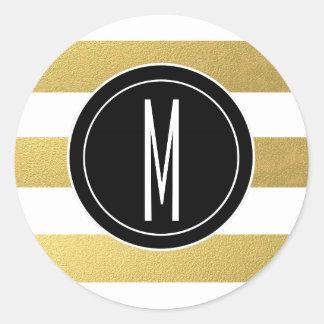 GOLD FOIL STRIPES   BLACK MONOGRAM ROUND STICKER