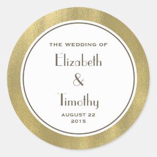 Gold Foil Wedding Round sticker