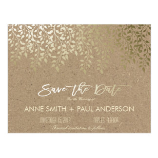 Gold foliage Save the Date Postcard