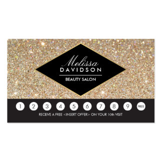 Gold Glitter and Glamour Salon Loyalty Card Pack Of Standard Business Cards