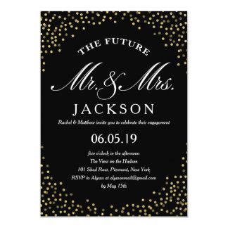 Gold Glitter Confetti Future | Engagement Party 13 Cm X 18 Cm Invitation Card