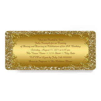 Gold Glitter Golden Ticket Party 10 Cm X 24 Cm Invitation Card