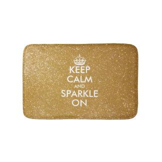 Gold glitter keep calm and sparkle on bath mat bath mats