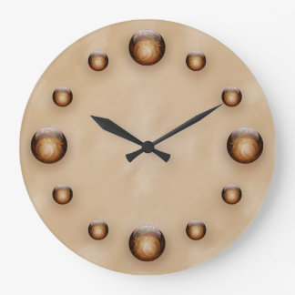 Gold, Illuminated Glass Gems against Tan Texture Wall Clock