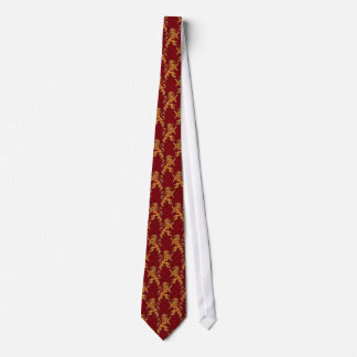 Gold Lions Fleurs on Deep Red Tie