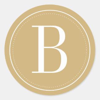 Gold Monogram Envelope Seal Round Sticker