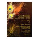 Gold Peacock Feather Flames Fall Wedding 13 Cm X 18 Cm Invitation Card