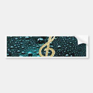 Gold Piano Gclef with rain drop Bakcground Bumper Sticker