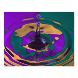 Gold Purple and Green Water Drop 11 Cm X 14 Cm Invitation Card