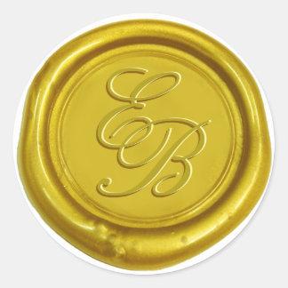 Gold Script Monogram Wax Seal Wedding Round Sticker