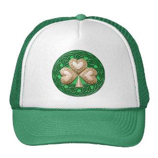 Gold Shamrock On Celtic Knots Hat