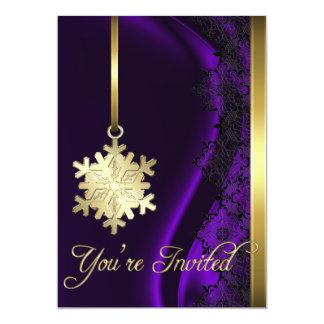 Gold Snowflake Decoration Purple Silk Invitation