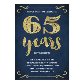 Gold Typography | Faux Foil 65th Birthday Party 13 Cm X 18 Cm Invitation Card