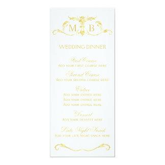 Gold wedding dinner menu template 10 cm x 24 cm invitation card