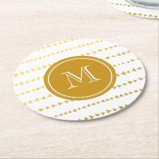 Gold White Aztec Arrows Monogram Round Paper Coaster