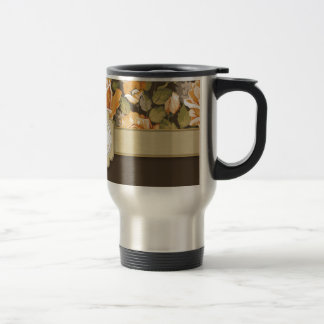 Gold Yellow Roses on Brown with Monogram Stainless Steel Travel Mug