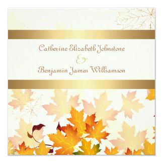 Golden Autumn Leaves Wedding 13 Cm X 13 Cm Square Invitation Card