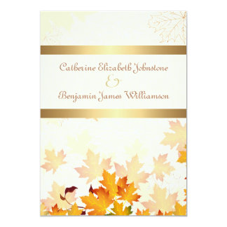 Golden Autumn Leaves Wedding 13 Cm X 18 Cm Invitation Card
