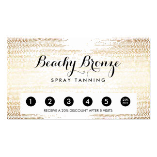 Golden Bronze Confetti Dots Salon Punch Card Pack Of Standard Business Cards