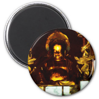 Golden Buddha Kyoto Japan Abstract Impressionism 6 Cm Round Magnet