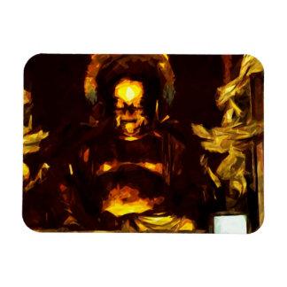 Golden Buddha Kyoto Japan Abstract Impressionism Rectangular Photo Magnet