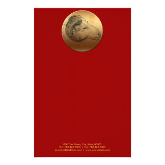 Golden Chinese Ram Year or Birthday stationery