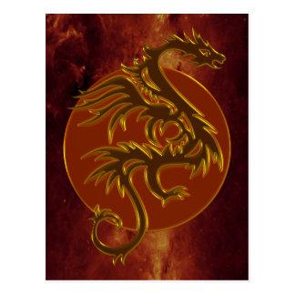 Golden Dragon Sun | universe of fire Postcard