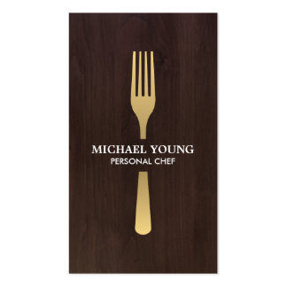 GOLDEN FORK on Dark Wood Chef, Catering Pack Of Standard Business Cards