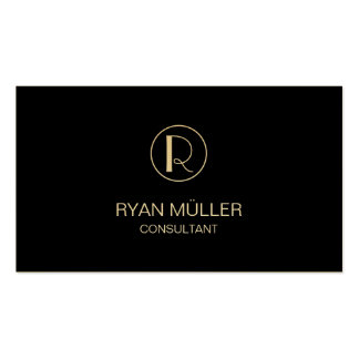Golden Professional Chic Plain and Monogram Pack Of Standard Business Cards