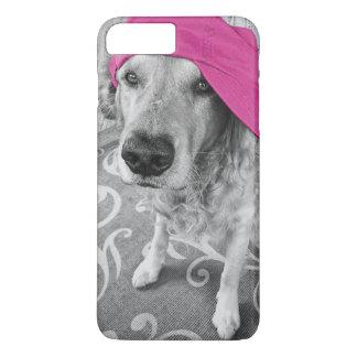 Golden Retriever with pink cap iPhone 7 Plus Case