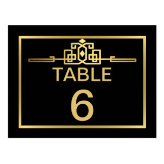 Golden Romance Art Deco Table Number Card Postcard