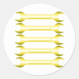 Golden Spanners Round Sticker