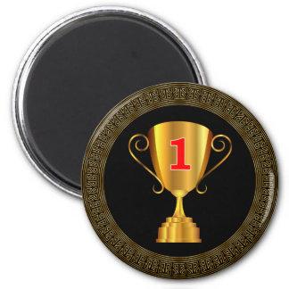 Golden trophy cup 6 cm round magnet