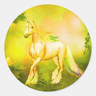 Golden unicorn round sticker