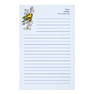 Goldfinch Bird & Apple Blossoms Blue Customized Stationery