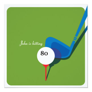Golf 80th Birthday - Still Swinging! 13 Cm X 13 Cm Square Invitation Card