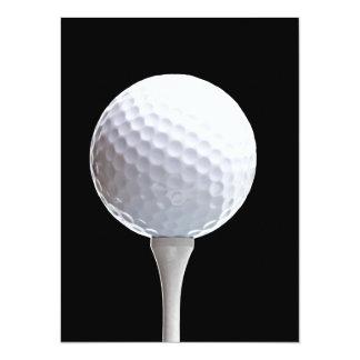 Golf Ball and Tee on Black- Customized 14 Cm X 19 Cm Invitation Card