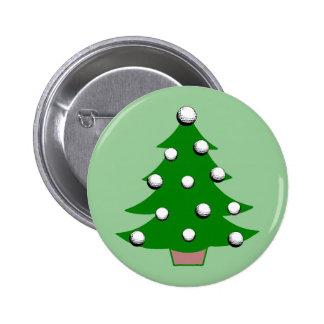 Golf Ball Christmas Tree 6 Cm Round Badge