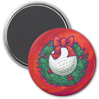 Golf Ball Christmas Wreath on Red 7.5 Cm Round Magnet