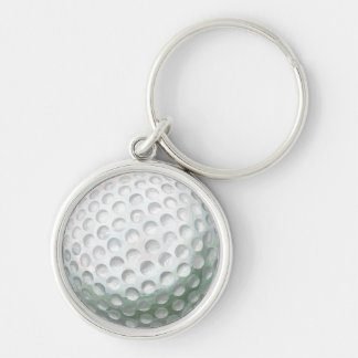 Golf Ball Silver-Colored Round Key Ring