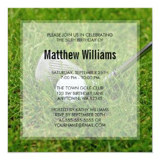 Golf Birthday 13 Cm X 13 Cm Square Invitation Card