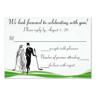 Golf / Golfing Couple RSVP Reply Card 9 Cm X 13 Cm Invitation Card