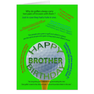 Golf Jokes birthday card for Brother