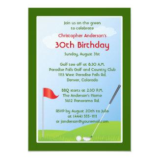 Golfer Golf Golfing Ball and Flag 30th Birthday 13 Cm X 18 Cm Invitation Card