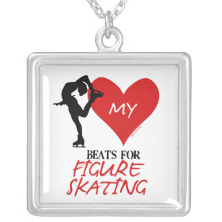 Golly Girls - My Heart Beats for Figure Skating Square Pendant Necklace