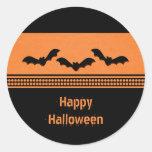 Gone Batty Halloween Stickers, Orange Round Sticker
