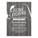Gone Fishing Wood Background Retirement Party 13 Cm X 18 Cm Invitation Card